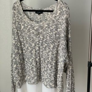 Lane Bryant Cream layered, cream & gray sweater